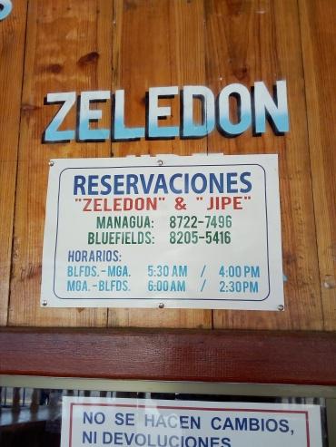 terminal de buses Bluefields - Zeledon - telefono
